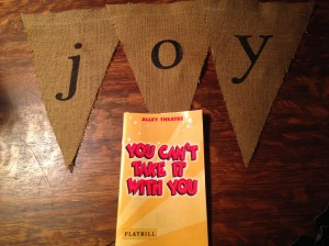 Dinner, a play, and some Burlap Pretties.