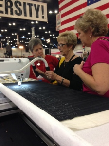 Longarm quilting booth.