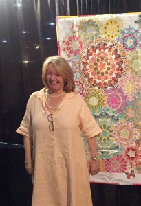 Dawn Monk explaining her quilt.